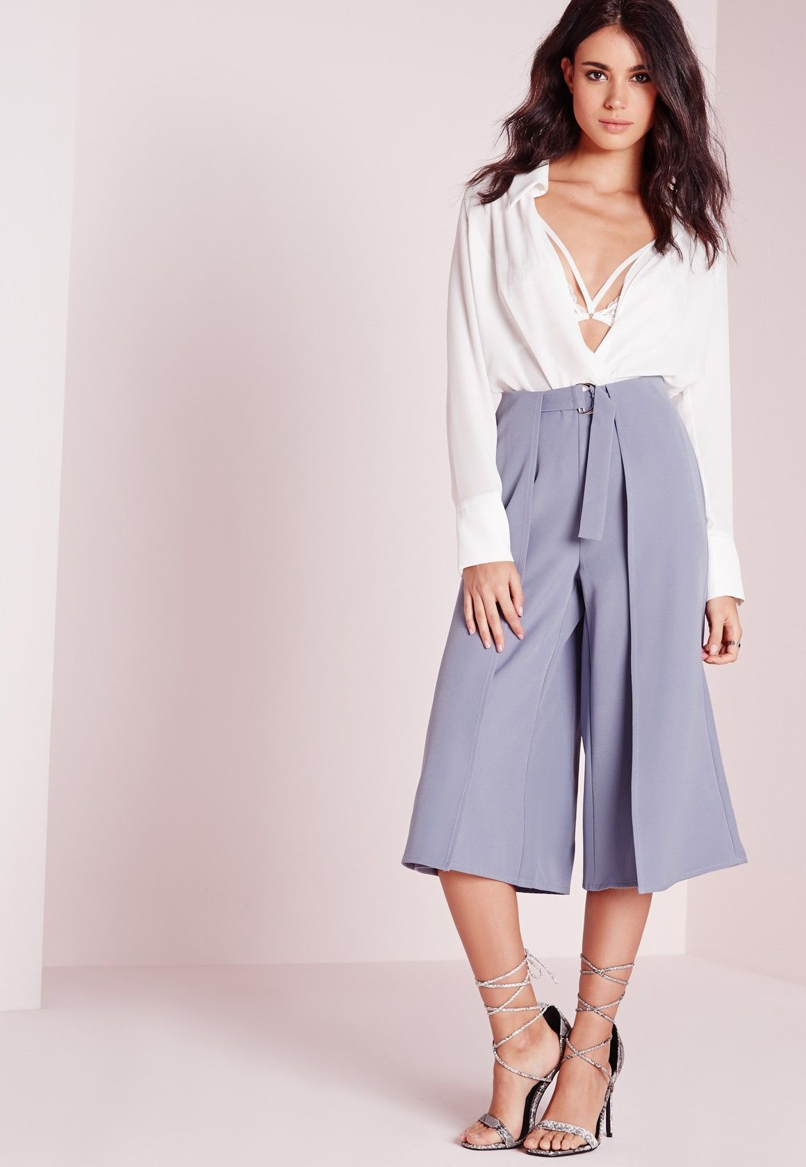 Missguided - D Ring Detail Culottes Grey
