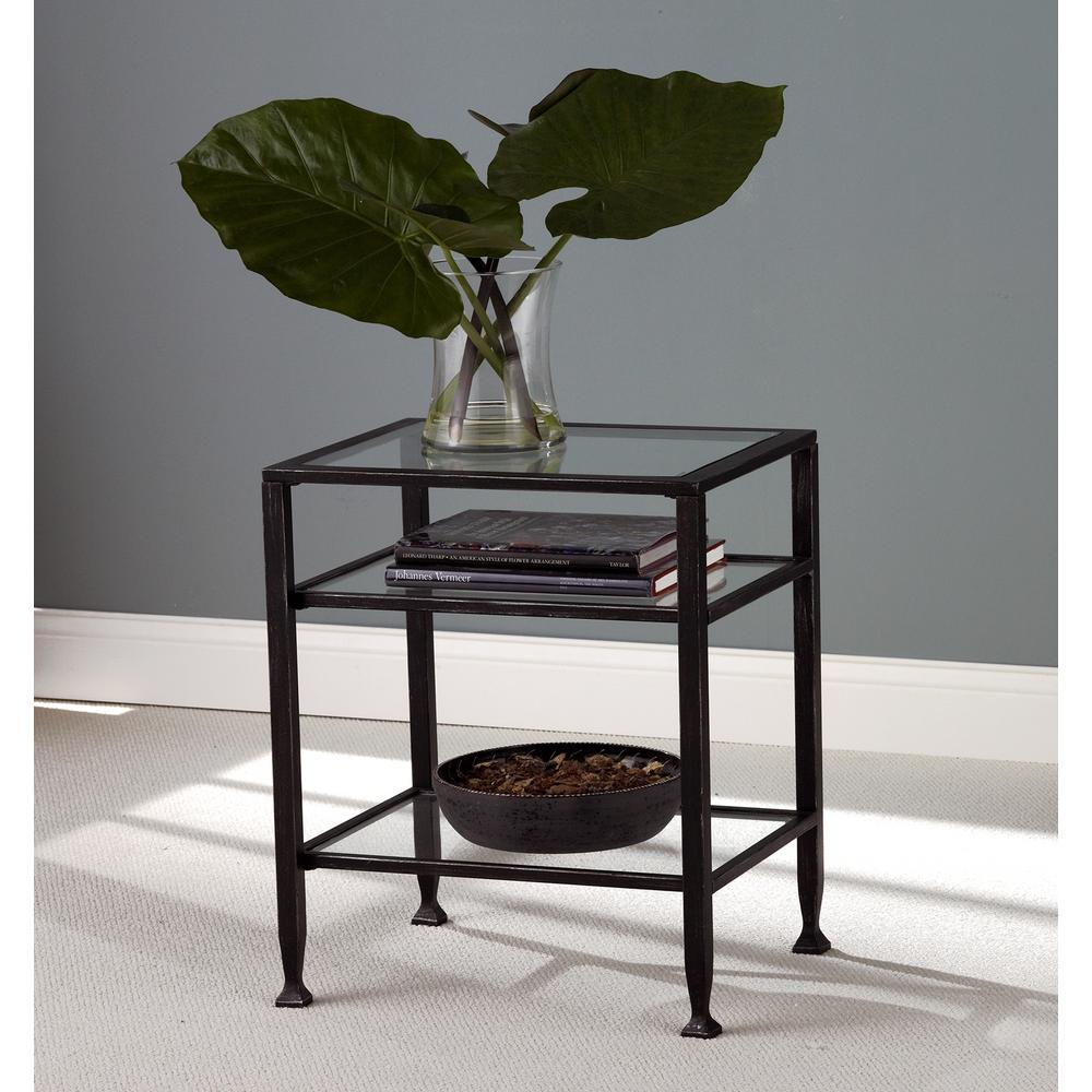 Unbranded Black Metal End Table Ck8772 The Home Depot Metal End Tables Glass End Tables End Tables