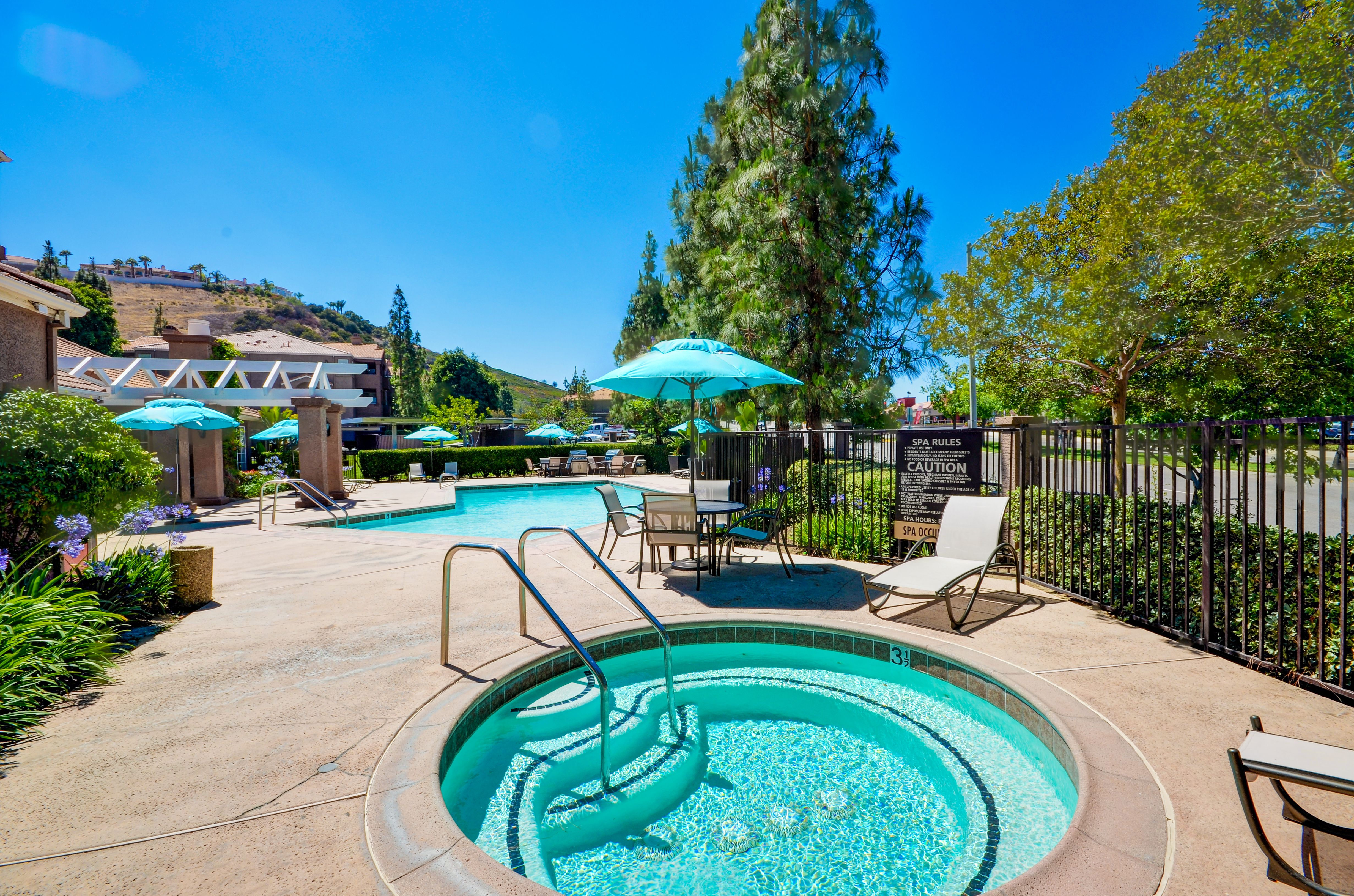 Relaxing spa at Sierra del Oro Apartments in Corona CA