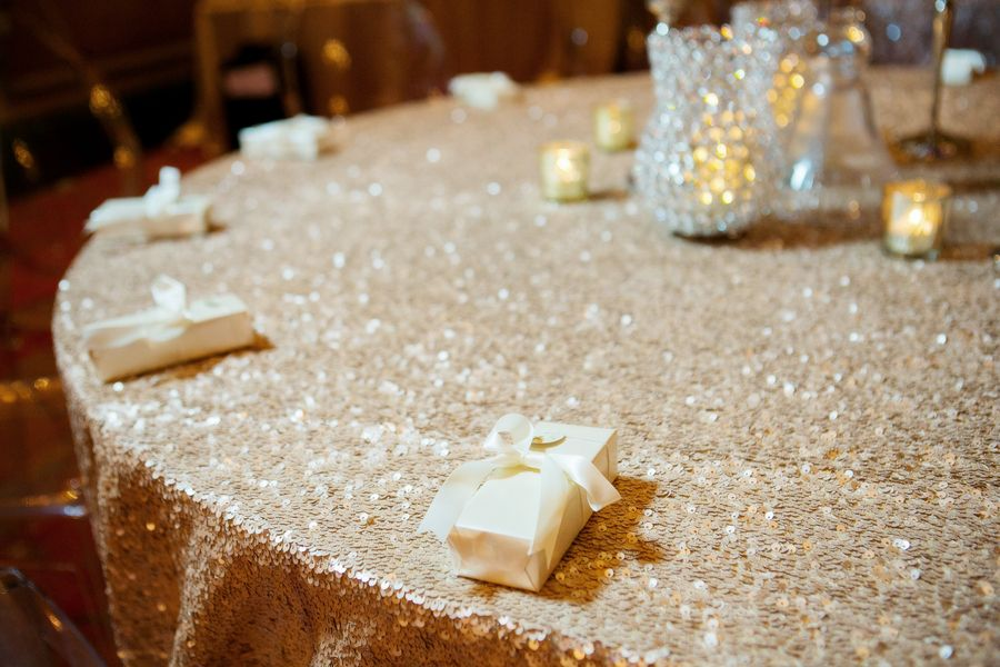 Sequined gold linen. Premier Party Rentals. Wedding