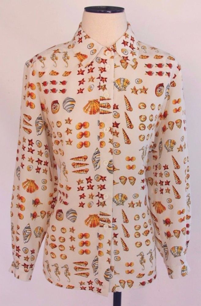 Vintage 80s 90s Ocean Sea Shell Beach Print Secretary Career Blouse Top Shirt 10 #DaRueofCalifornia #Blouse #Career