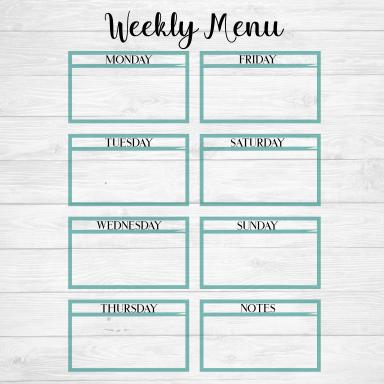 Weekly Menu Svg Cut File Calendar Www Gracelynndesigns Com