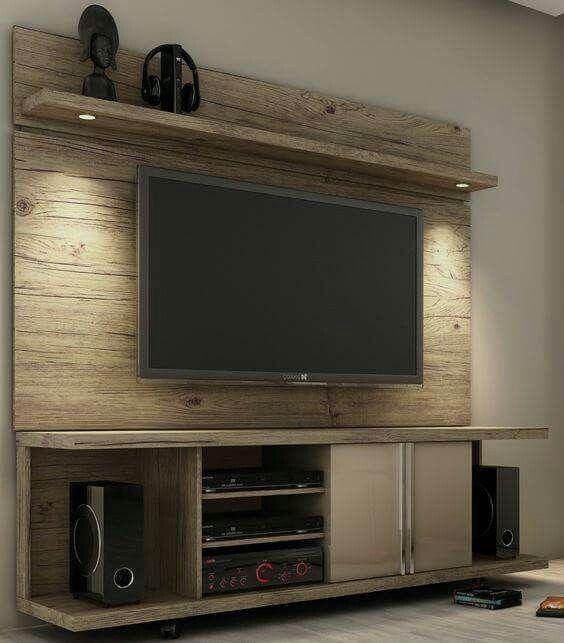Pallet TV wall entertainment center Entertainment Units - schlafzimmer wand ideen