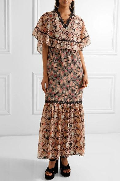 Embellished Printed Silk-chiffon And Cotton-blend Voile Maxi Dress - Pink Anna Sui wSyKHzlKt7