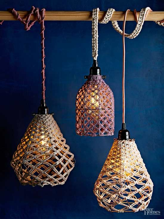 Macrame Is Back In A Big Way And Were Giving It Fresh Modern Spin Create Textured Pendant Lights Using One Simple Knot