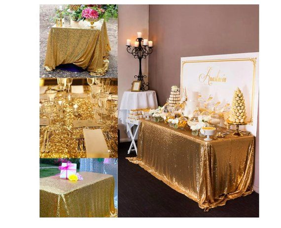 Gold Sequin Wedding Tablecloth 50 By 50 In Square Polyester Sequin Cloth Shiny Gold Sequin Quality Tablecloth For Special Events Or Parties Wedding Tablecloths Table Covers Wedding Glitter Table Cloths