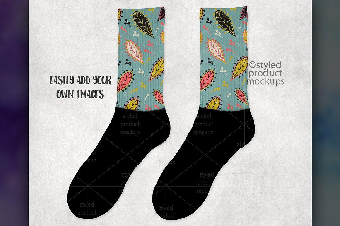Download Black Foot Sock Mockup Background Files Download Instant Designer Socks Socks Crew Socks