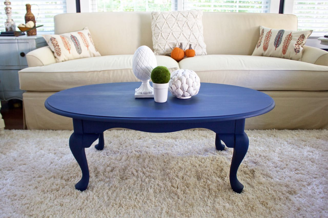Coffee Table Makeover In Napoleonic Blue Chalk Paint With Images
