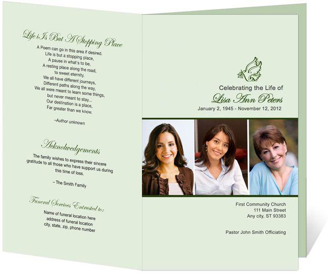 Contemporary Funeral Program Template Design Memorial Service - funeral brochure template