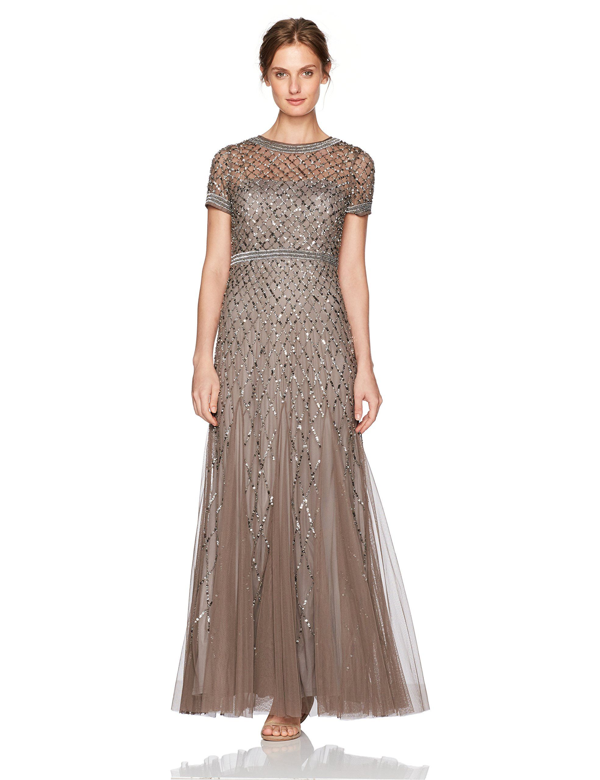 b8e64adf6a Adrianna Papell Womens Petite ShortSleeve Beaded Mesh Gown Lead 8P    Read  more reviews of the product by visiting the link on the image-affiliate  link.