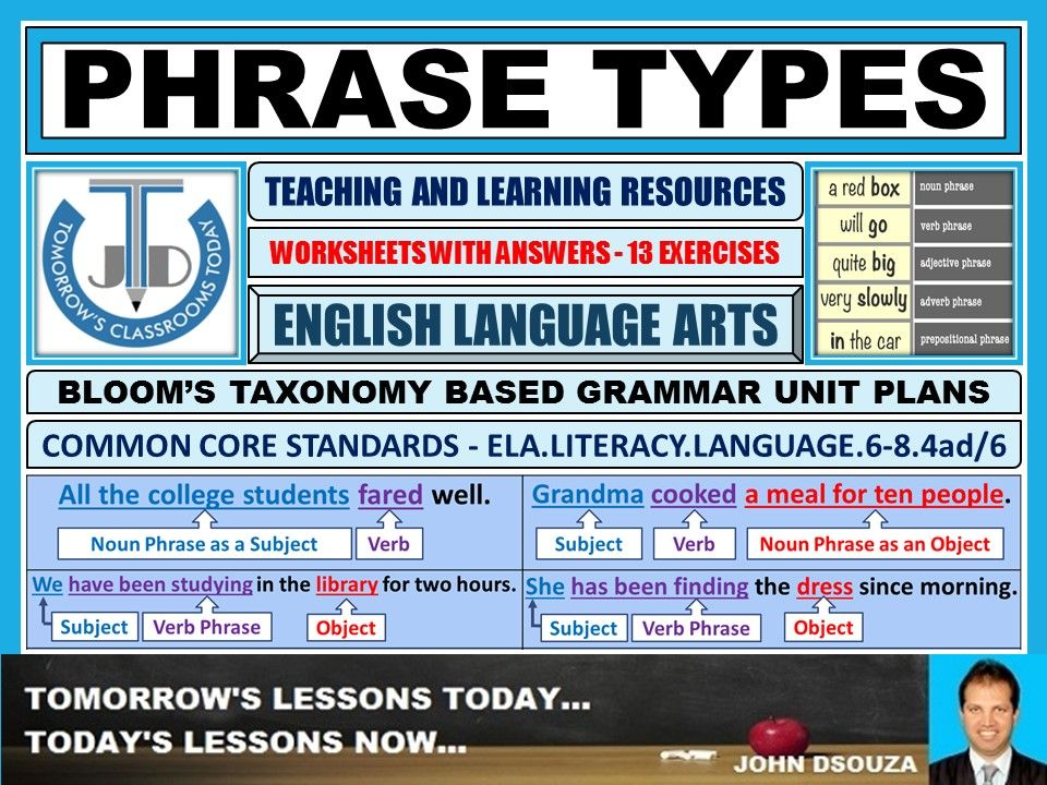 Phrase Types  13 Worksheets With Answers