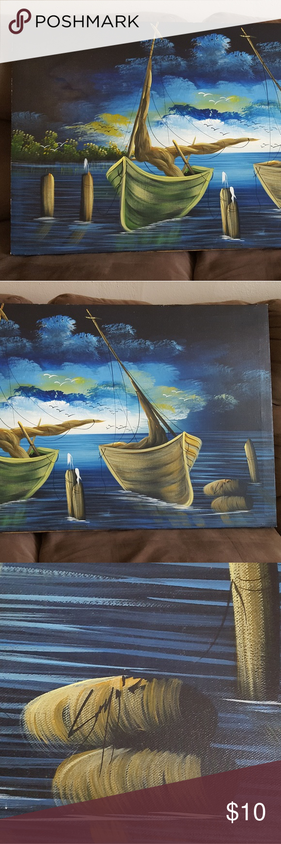 21.5×39 in. Boats painting In colors of blue, brown and yellow a beautiful painting of two boats. Other