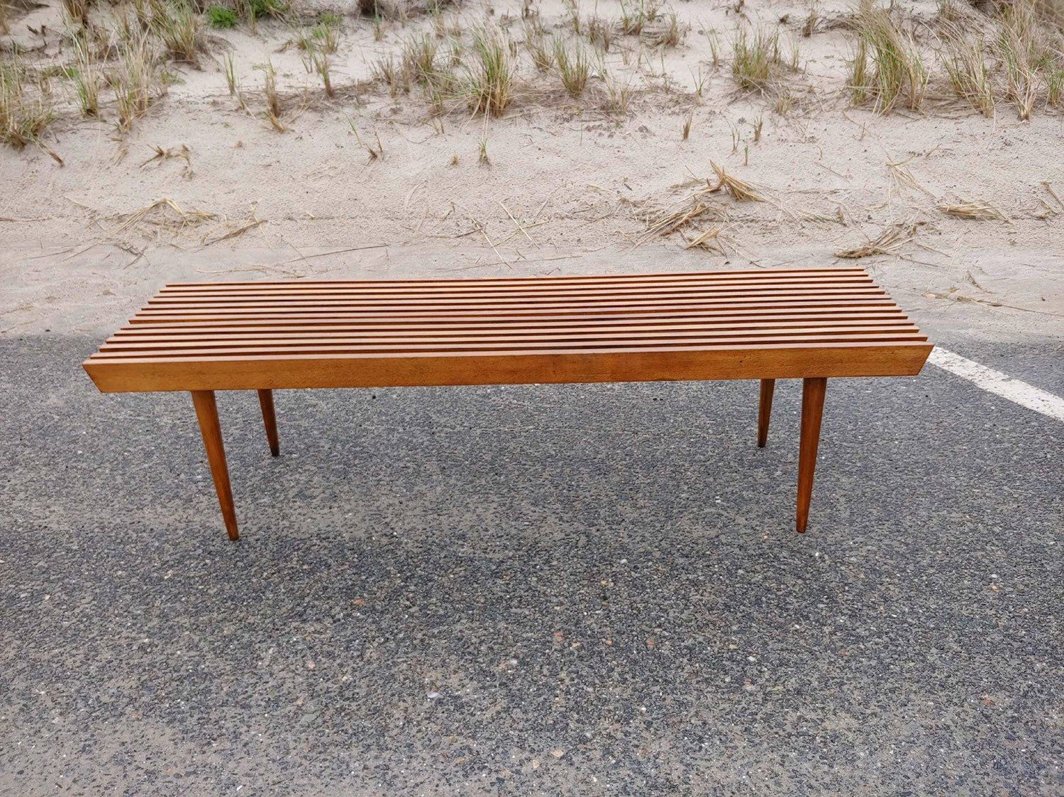 Mid Century Slat Bench Slatted Bench Slat Bench Coffee Table 60 Slatted Coffee Table Extra Seating Bench Seat Bench With Seating Mid Century Front Door