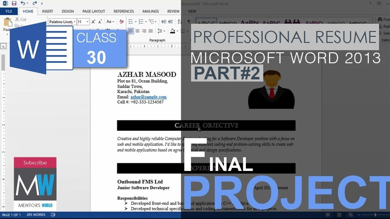 How to make a professional resume in ms word 2013 Part2