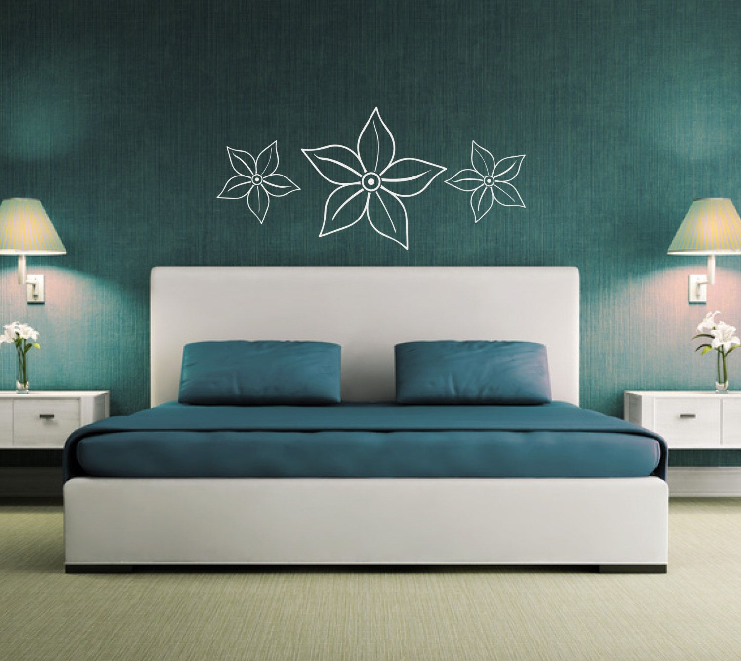 flower wall sticker above bed decor wall graphic decal over bed wall art girls bedroom. Black Bedroom Furniture Sets. Home Design Ideas