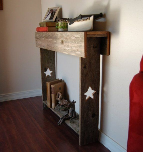 Console Table. Skinny Table. Entry Way STARS Primitive Furniture Thin Table  Small Space Recycled Wood Furniture 30x6x30