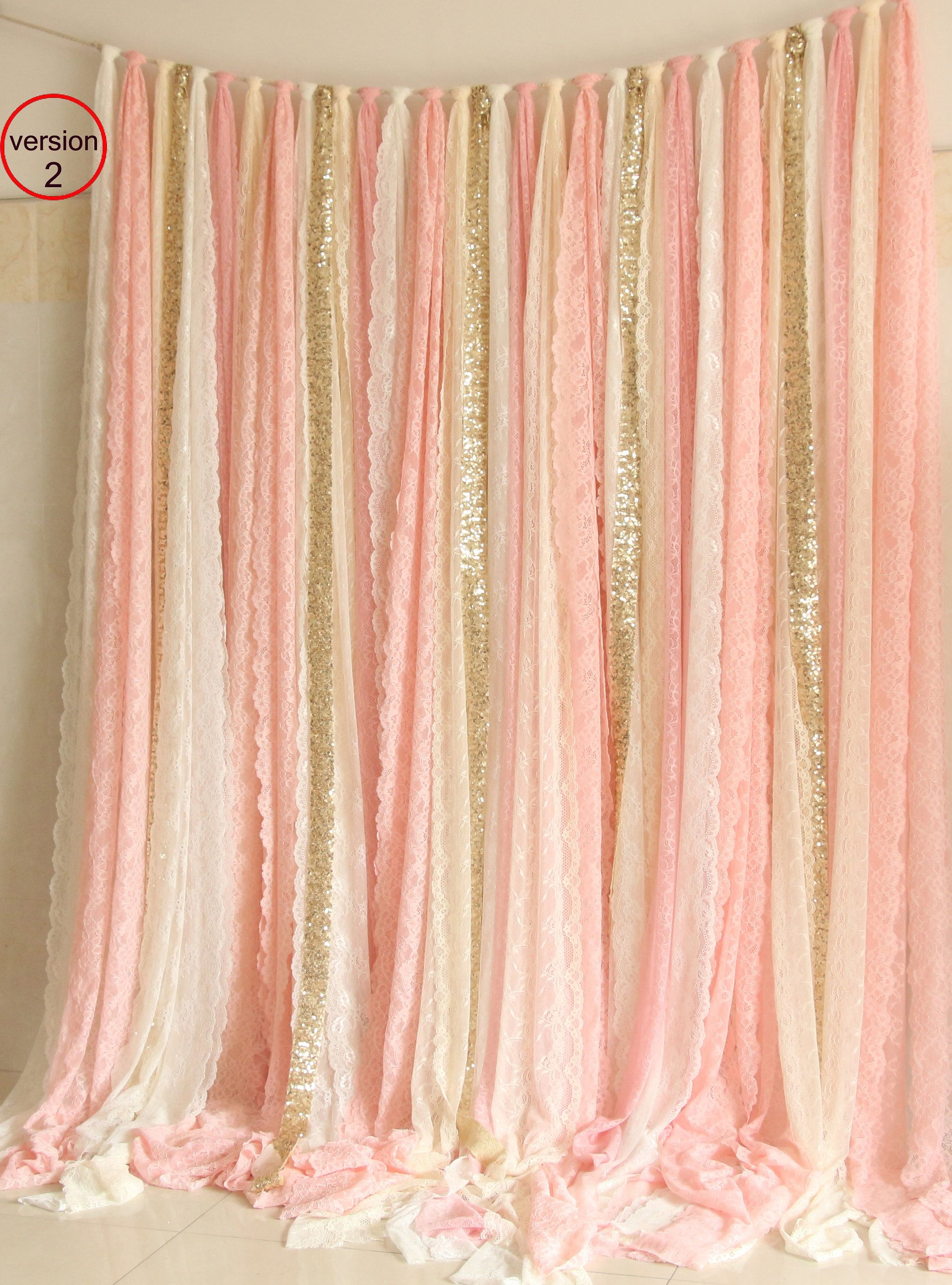 Wedding decorations stage backdrops october 2018 Blush pink white Lace fabric Gold Sparkle photobooth backdrop