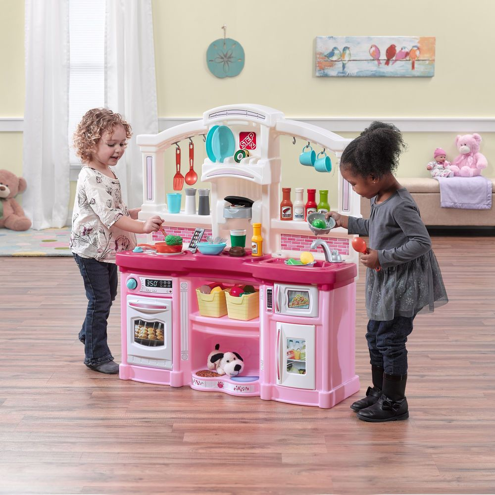 Kids Pretend Kitchen Set Toddler Pink Toy Cook Counter Top ...