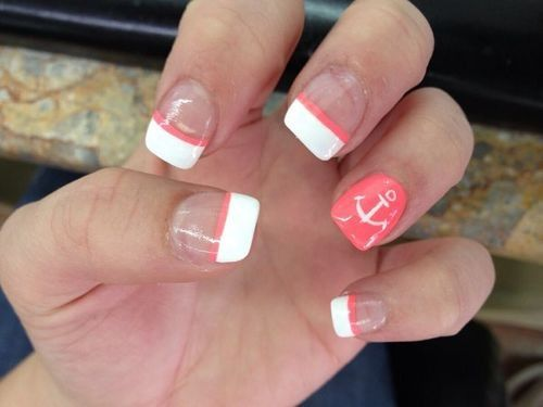 Super Cute Nail Design With Anchor And Coral Nails Pinterest