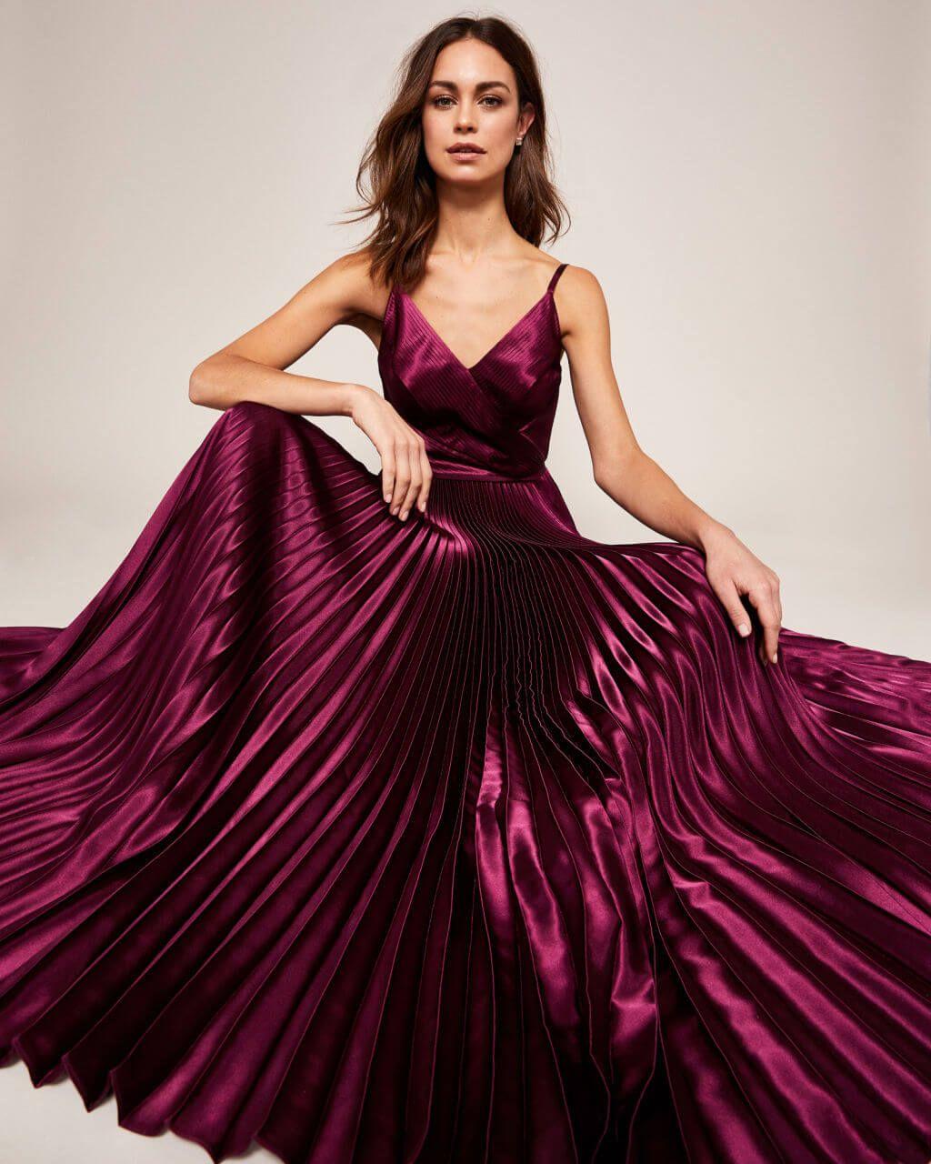 b9e0235bf3 Stunning deep purple pleated satin maxi dress, perfect for a bridesmaid