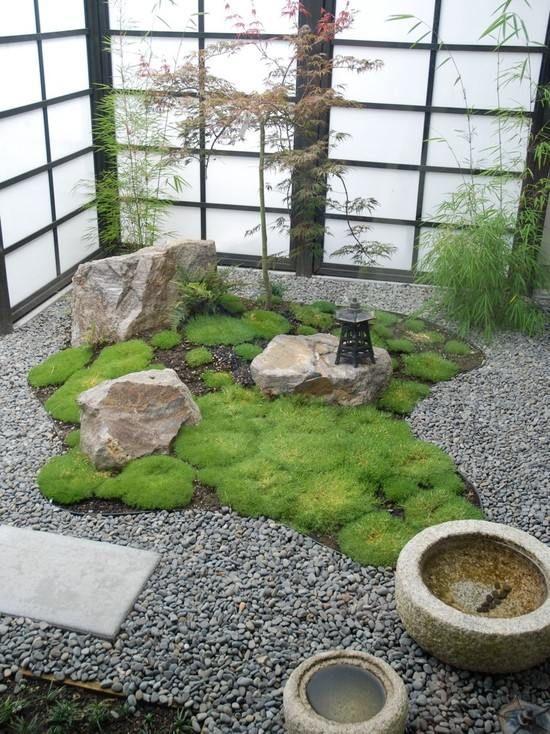 Japanese garden design gravel path moss garden water for Japanese water garden design ideas