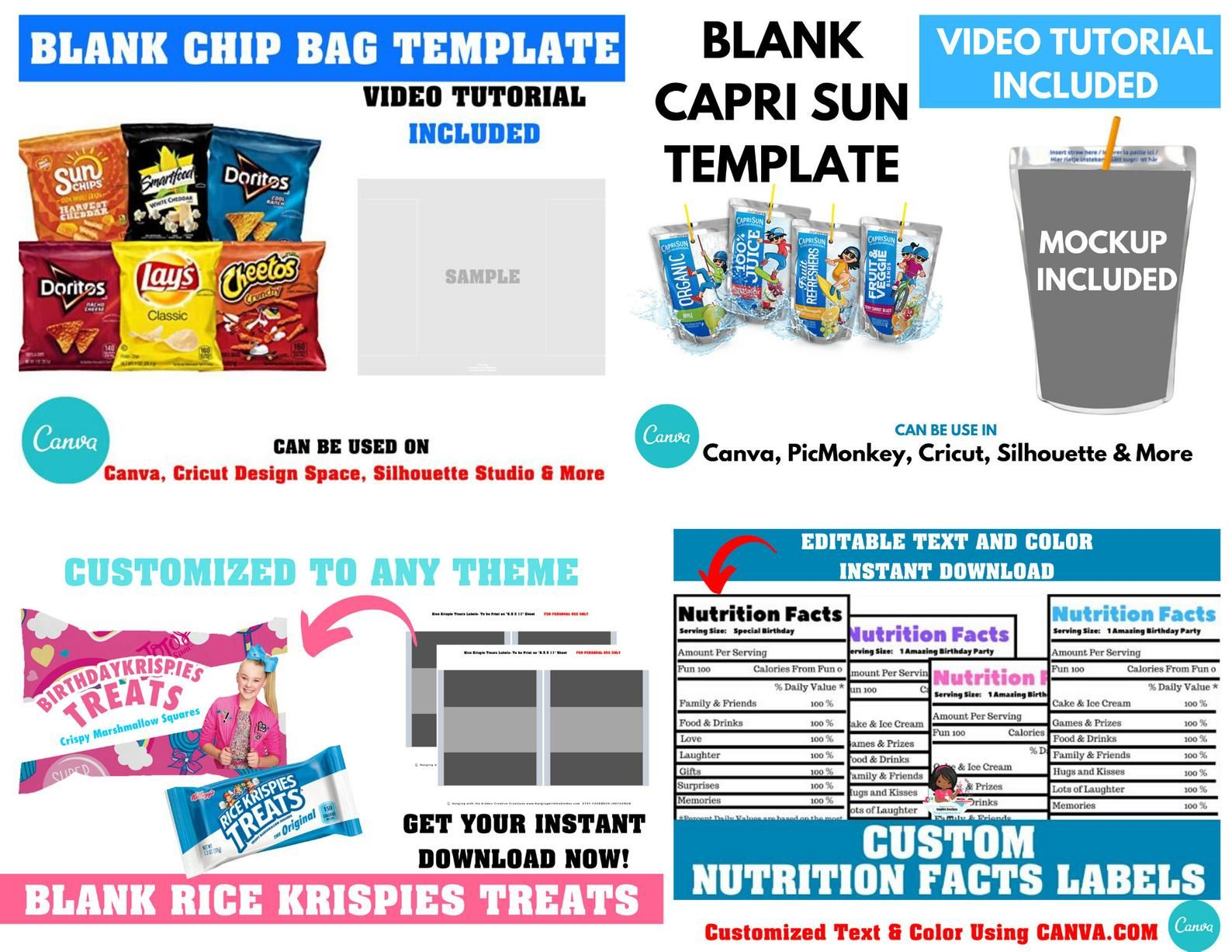 Save Blank Template Bundle Chip Bag Templaterice Krispies Etsy In 2020 Label Templates Chip Bags Capri Sun