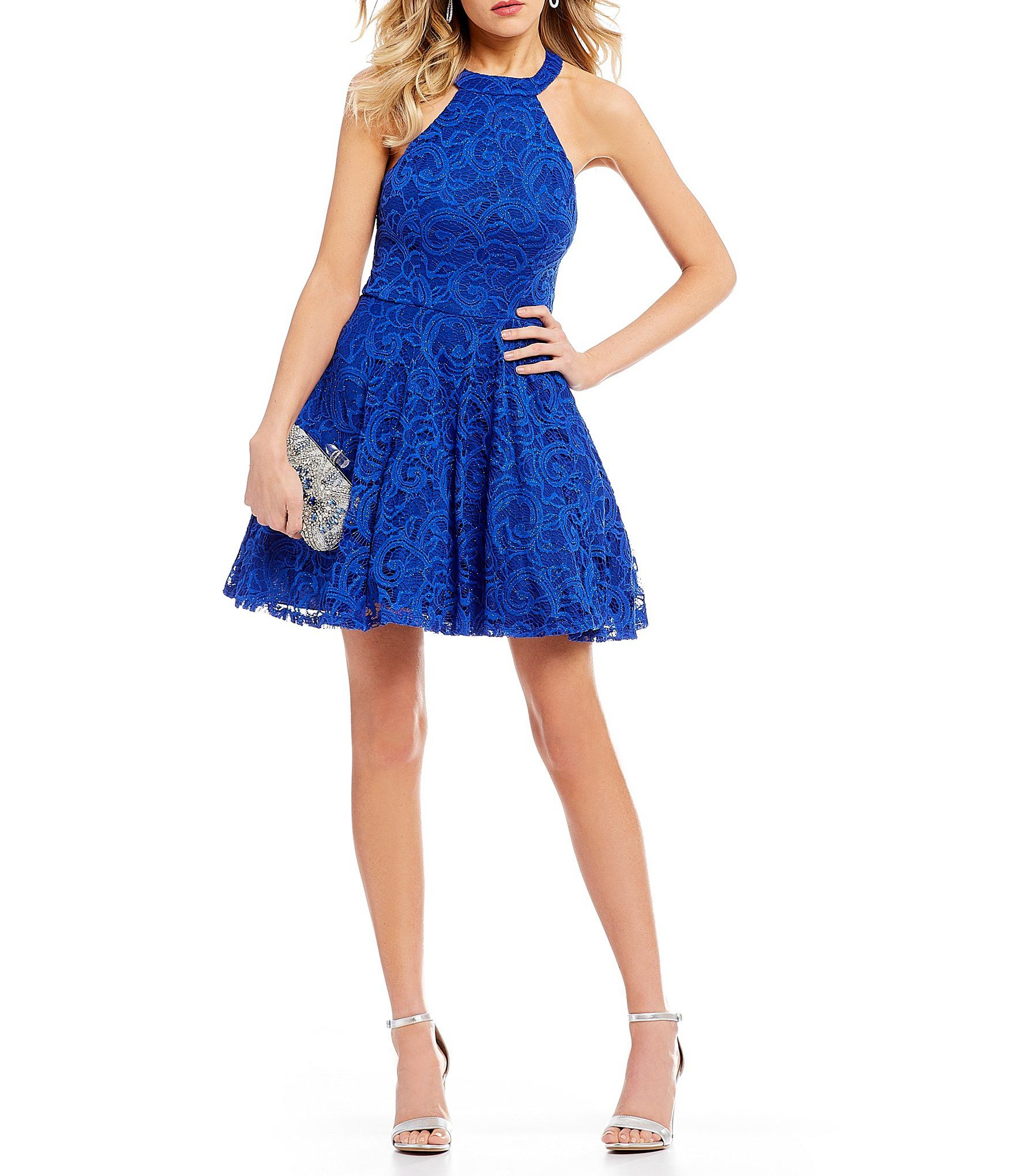 ef4bdbfde2e B. Darlin Sequin-Embellished Lace Fit-And-Flare Dress