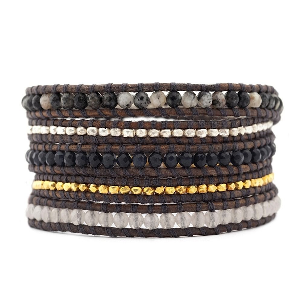 Chan Luu - Orbicular Granite Mix Wrap Bracelet on Natural Grey Leather, $215.00