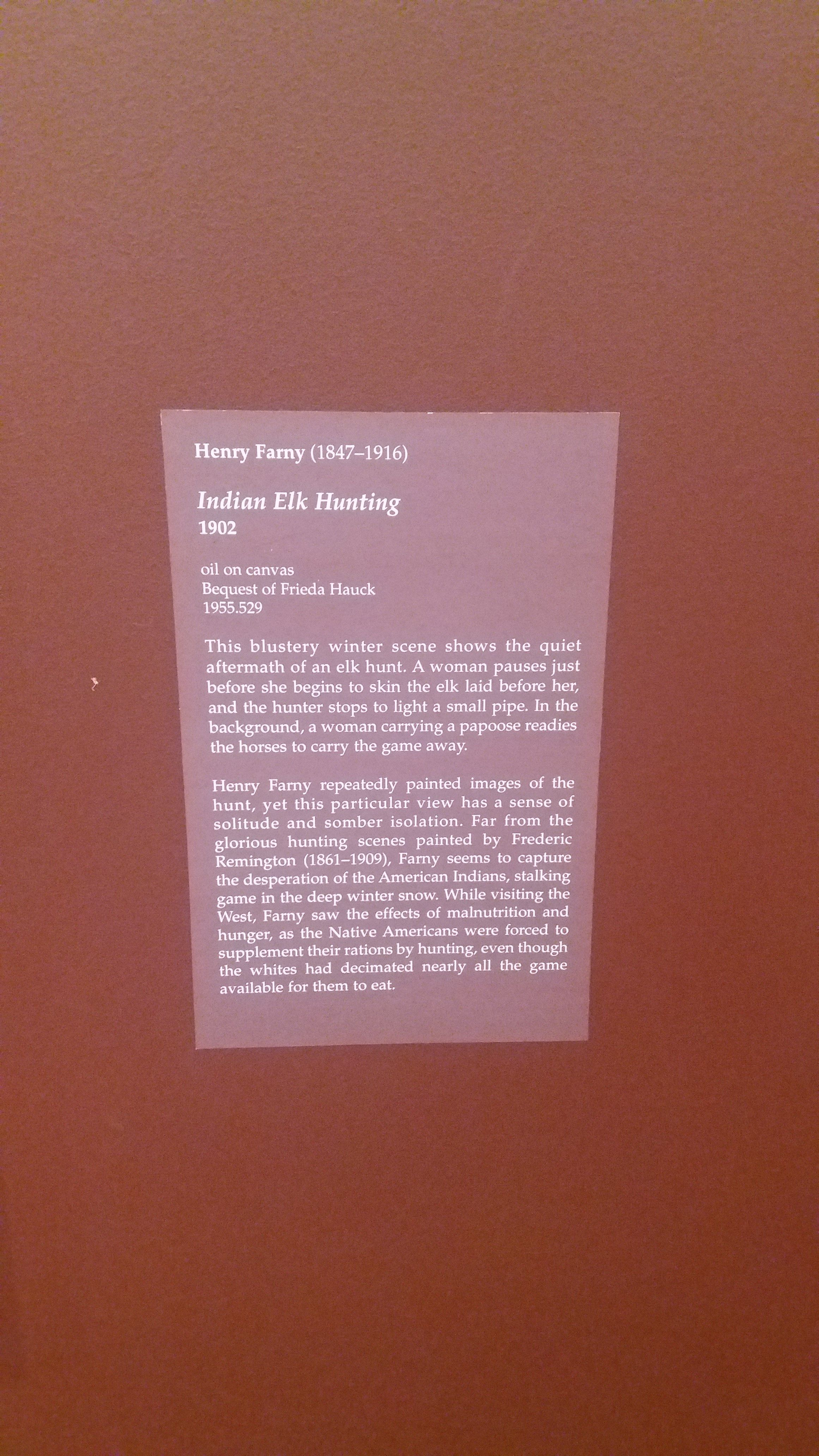 This description shows what happened after the elk hunt, and the significance of the winter scene in the painting.