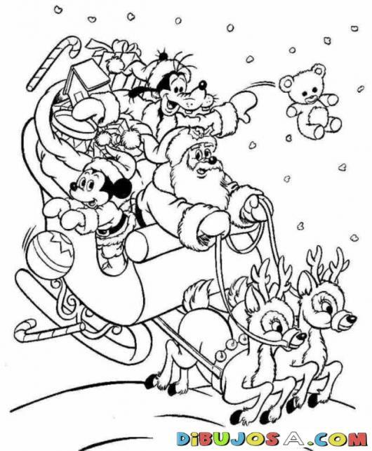 Clorear A Santa Claus Con Mickey Mouse Y Pluto Repartiendo Juguete Dibujo Navidad Para Colorear Hojas De Navidad Para Colorear Páginas Para Colorear De Navidad