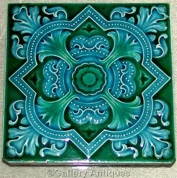 Sold Rare Antique Art Nouveau Fl Aesthetic Gothic Majolica Green And Blue Ceramic Tile By The Cleveland Company Ref