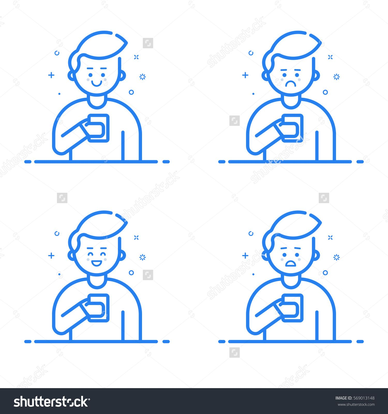 Vector illustration in flat linear style. Boy holding mobile phone with different expressions on his face. Smartphone addict receiving notifications and messages - outline stock vector
