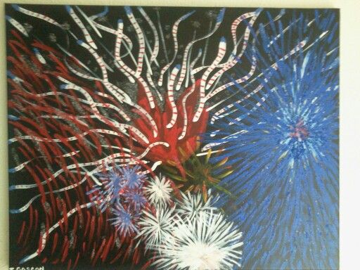 Fireworks on canvas 16 x 20/ Toujours Moi Art