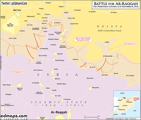 Syria War Battle for ArRaqqah Raqqa Rakka map November 8