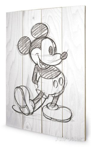 Mickey Mouse Sketched Single Wood Sign Cartel De Madera En