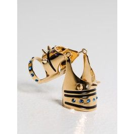 maria francesca pepe - articulated ring with spikes gold/black