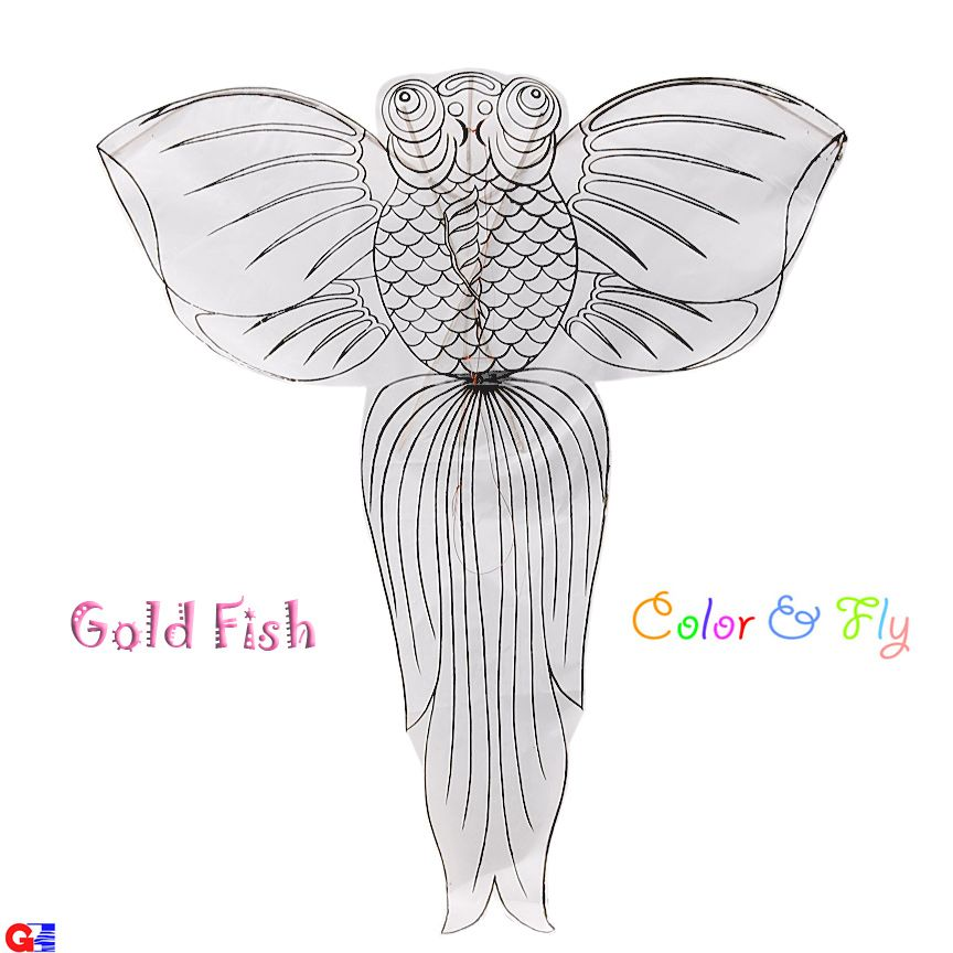 G\Z Wholesale Store - DIY-FISH-1 Rayon Plain Gold Fish Kites (By - kite template