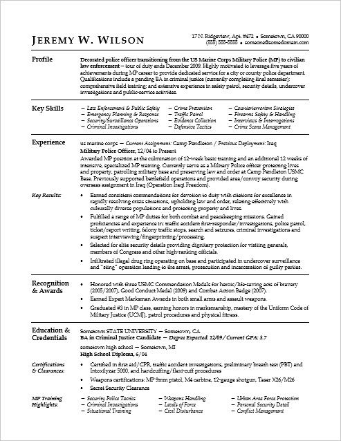 This Sample Resume Shows How You Can Translate Your Military Skills For A Civilian Job Police Officer Resume Federal Resume Resume Examples