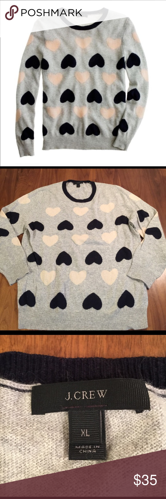"""J. Crew Heartbreaker Sweater We're full of affection for our playful intarsia sweaters in our signature blend of wool and angora. Each one features cheeky designs that are intarsia knit into the sweater instead of on top—a more difficult and time-consuming process but totally worth it. Sweet, soft and covered in hearts, this one never misses a beat. 20""""across bust. 24.5"""" length.   Viscose/wool/nylon/angora in a 7-gauge knit. J. Crew Sweaters Crew & Scoop Necks"""