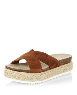 fc54ec880 Tan Suede Cross Strap Espadrille Sandals | New Look | S H O E S ...