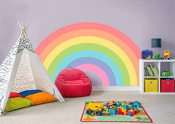 rainbow wall sticker decal bedroom decor art mural nursery on wall stickers for kids id=58102