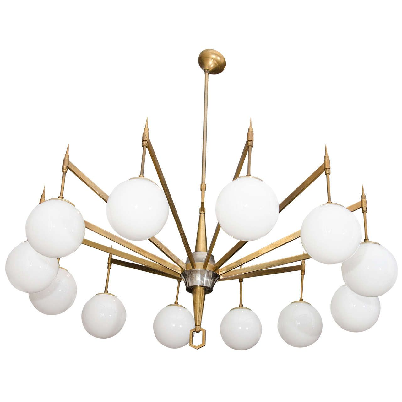 12 Arm Brass Chandelier With White Opaque Globes 1stdibs Com Brass Chandelier Chandeliers And Pendants Chandelier