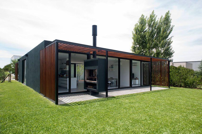 Diseño de moderna casa de un piso y tres dormitorios, aplican ...