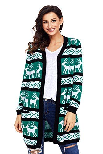 Product review for Shawhuwa Womens Christmas Sweater Reindeer Open