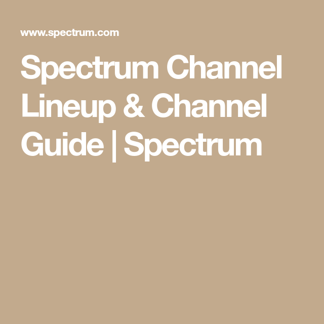 Spectrum Channel Lineup & Channel Guide | Spectrum | DISH