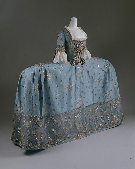 Side on view of Court Dress or robe à la française. ca. 1750, British, silk, metallic thread.