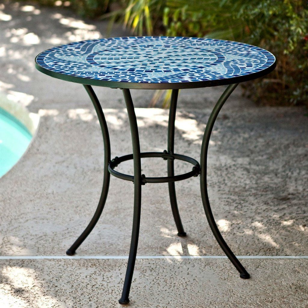 30 Inch Round Metal Outdoor Bistro Patio Table With Hand Laid Blue Tiles Bistro Table Outdoor Outdoor Patio Table Mosaic Patio Table