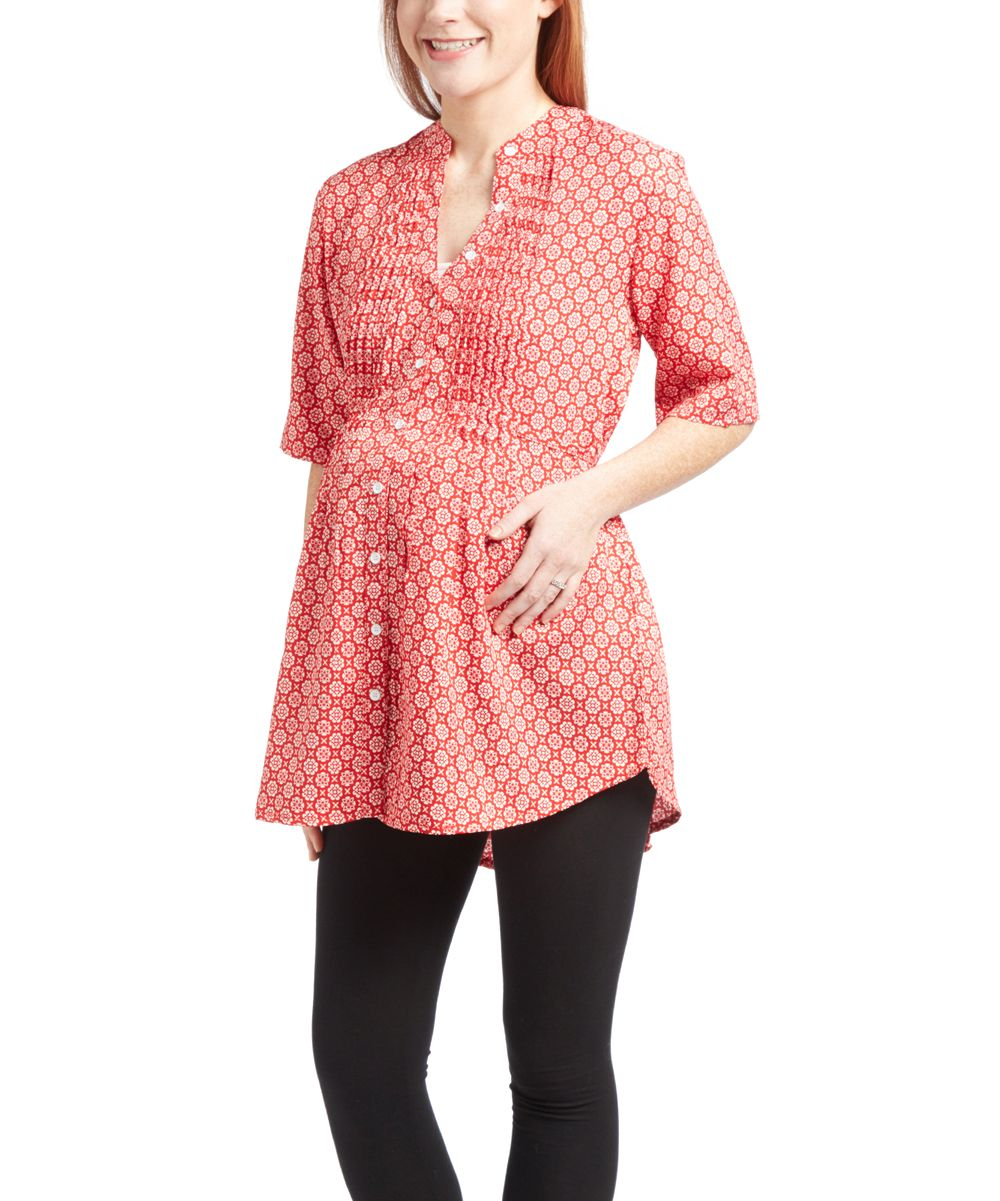 Red & White Pleated Button Front Abstract Print Maternity Top ...