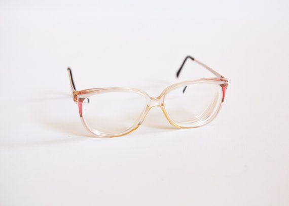 Vintage Nordic Germany Clear Plastic Eyeglass Frames With Pink and ...