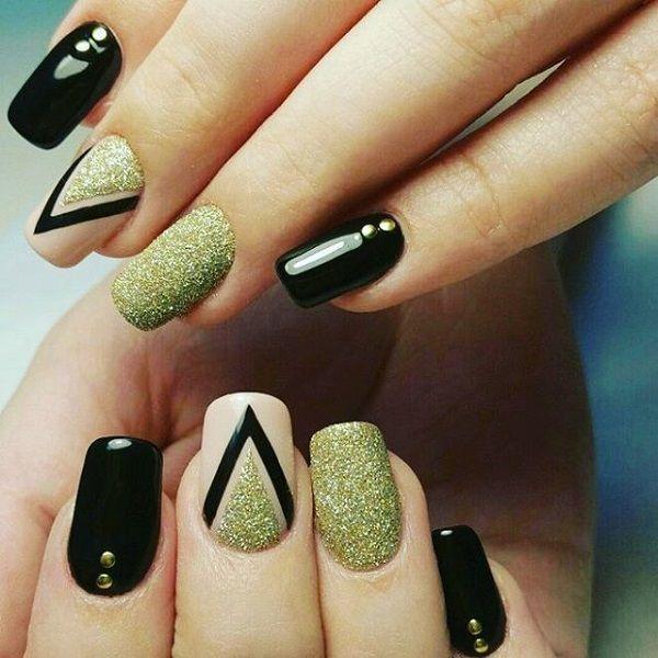 Black dress long simple nails